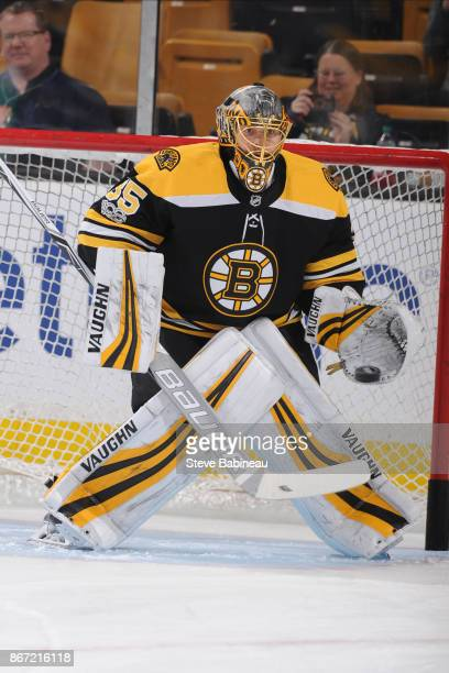 Anton Khudobin of the Boston Bruins warms up before the game against the San Jose Sharks at the TD Garden on October 26 2017 in Boston Massachusetts