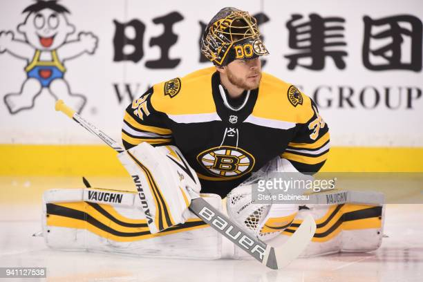 Anton Khudobin of the Boston Bruins warms up before the game against the Florida Panthers at the TD Garden on March 31 2018 in Boston Massachusetts...
