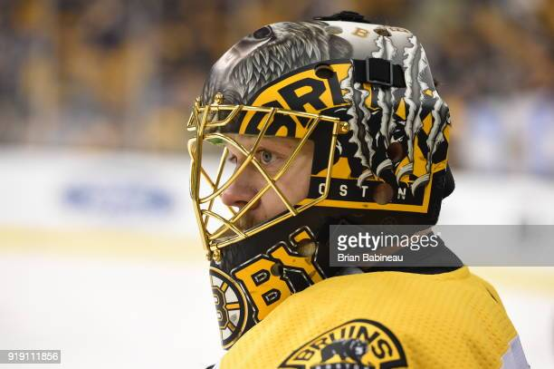 Anton Khudobin of the Boston Bruins watches on the ice before the game against the Calgary Flames at the TD Garden on February 13 2018 in Boston...
