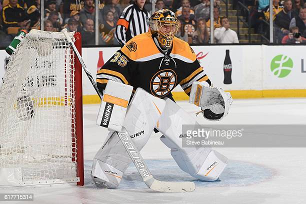 Anton Khudobin of the Boston Bruins watches the play against the Montreal Canadiens at the TD Garden on October 22 2016 in Boston Massachusetts