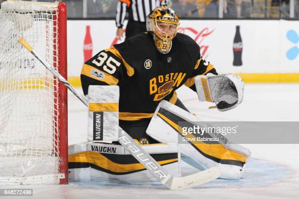 Anton Khudobin of the Boston Bruins watches the play against the New Jersey Devils at the TD Garden on March 4 2017 in Boston Massachusetts