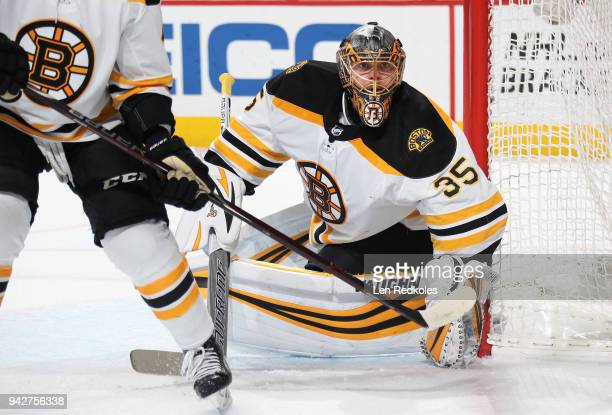 Anton Khudobin of the Boston Bruins watches the play along the far boards against the Philadelphia Flyers on April 1 2018 at the Wells Fargo Center...