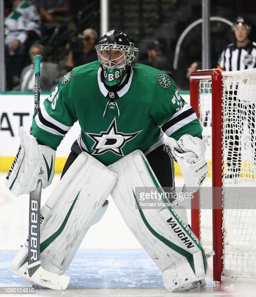 Anton Khudobin of the Dallas Stars at American Airlines Center on October 13 2018 in Dallas Texas
