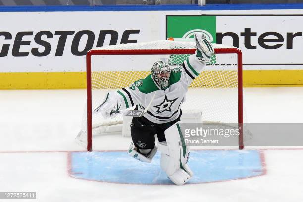 Anton Khudobin of the Dallas Stars celebrates an overtime series win against the Vegas Golden Knights during the first overtime period in Game Five...
