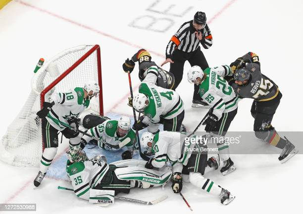 Anton Khudobin of the Dallas Stars covers up the puck against the Vegas Golden Knights during the second period in Game Five of the Western...