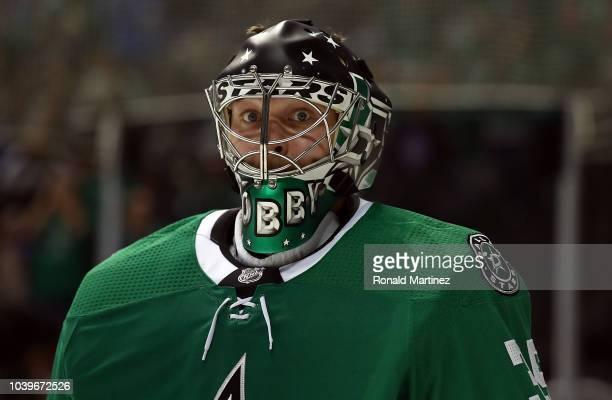 Anton Khudobin of the Dallas Stars during a preseason game at American Airlines Center on September 24 2018 in Dallas Texas