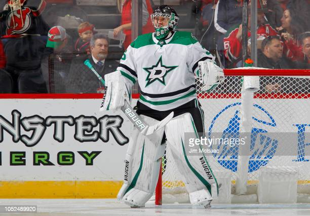 Anton Khudobin of the Dallas Stars in action against the New Jersey Devils at Prudential Center on October 16 2018 in Newark New Jersey The Devils...