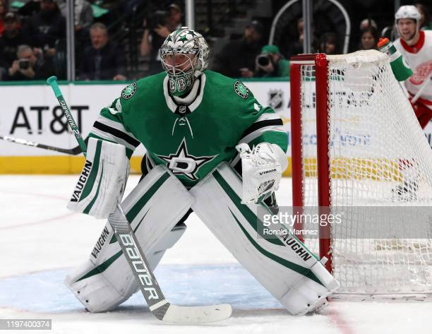 Anton Khudobin of the Dallas Stars in goal against the Detroit Red Wings in the second period at American Airlines Center on January 03, 2020 in...