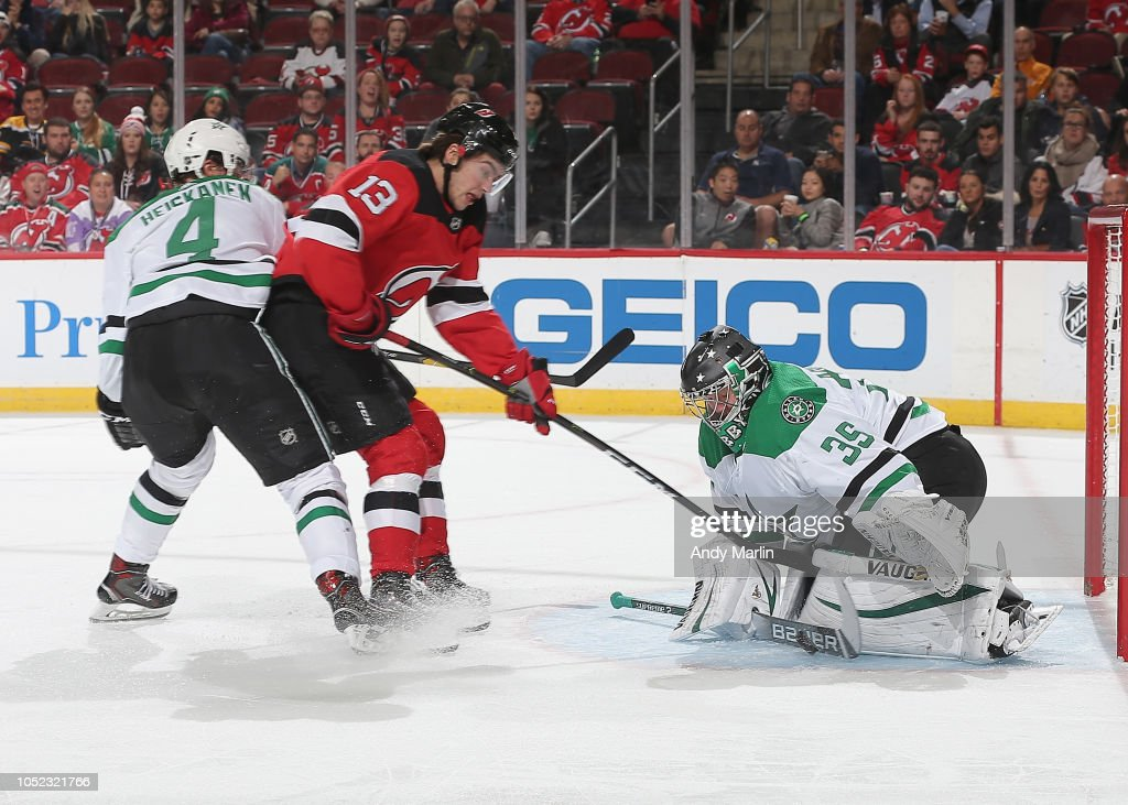 best service 7a951 f7fea Anton Khudobin of the Dallas Stars makes a save as Miro ...