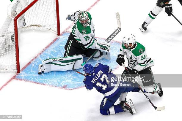 Anton Khudobin of the Dallas Stars makes the save on a shot by Alex Killorn of the Tampa Bay Lightning during the third period in Game One of the...