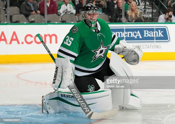 Anton Khudobin of the Dallas Stars tends goal against the San Jose Sharks at the American Airlines Center on November 8 2018 in Dallas Texas