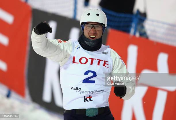 Anton Kushnir of Belarus celebrates in the finish area and wins the Mens aerials final in the FIS Freestyle Ski World Cup 2016/17 Aerials at Bokwang...