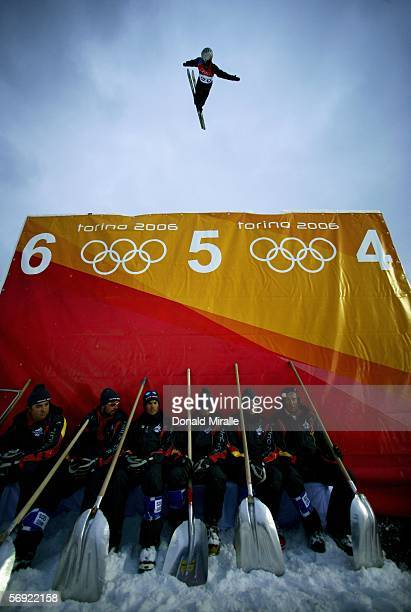 Anton Kushnir of Belarus competes in the Mens Freestyle Skiing Aerials Final on Day 13 of the 2006 Turin Winter Olympic Games on February 23 2006 in...
