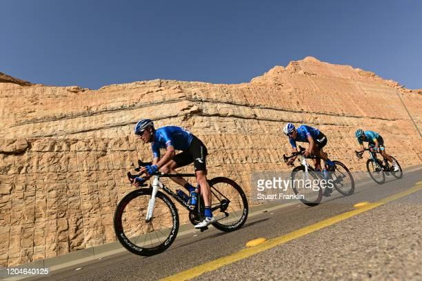 Anton Kuzmin of Kazakhstan and Team Gazprom-Rusvelo / Zhandos Bizhigitov of Kazakhstan and Astana Pro Team / Peloton / during the 1st Saudi Tour...