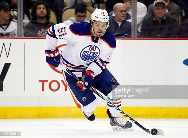 Anton Lander of the Edmonton Oilers skates during the game against the Pittsburgh Penguins at Consol Energy Center on March 12 2015 in Pittsburgh...