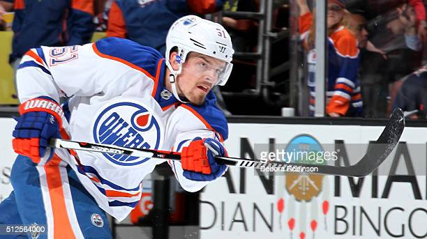 Anton Lander of the Edmonton Oilers skates during warmups before the game against the Anaheim Ducks on February 26 2016 at Honda Center in Anaheim...