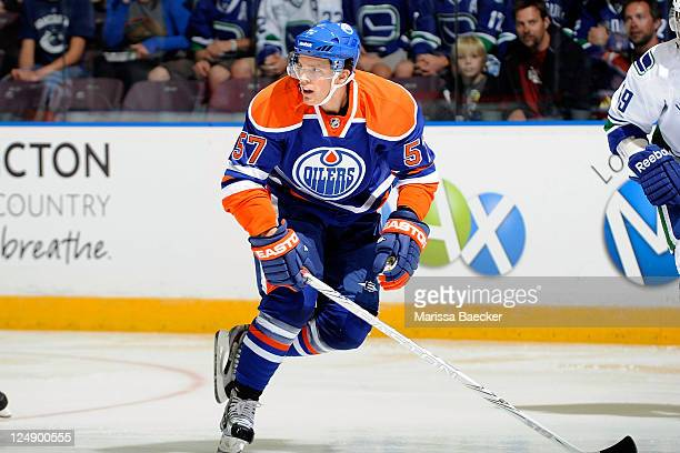 Anton Lander of the Edmonton Oilers skates on the ice against the Vancouver Canucks at the 2001 Vancouver Canucks NHL Young Stars Tournament at the...
