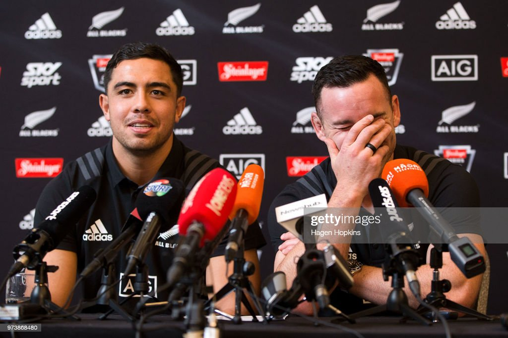 Anton Lienert-Brown and Ryan Crotty speak to media during a New Zealand All Blacks press conference on June 14, 2018 in Wellington, New Zealand.