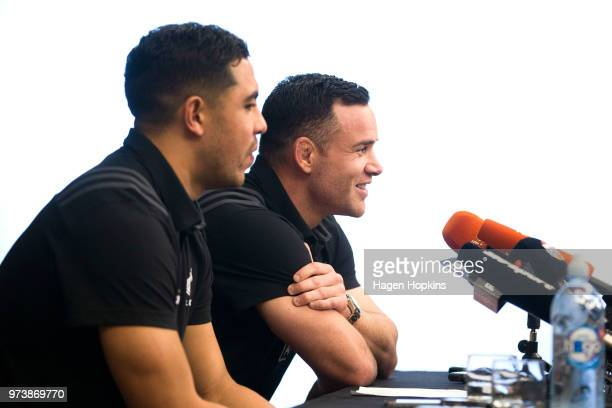 Anton LienertBrown and Ryan Crotty speak to media during a New Zealand All Blacks press conference on June 14 2018 in Wellington New Zealand