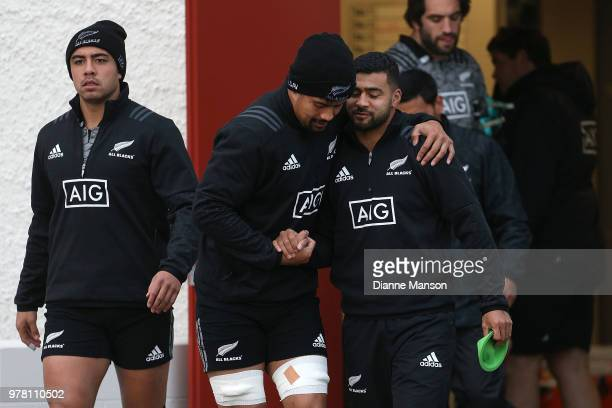 Anton LienertBrown Ardie Savea and Richie Mo'unga of the All Blacks make their way out on to the field during a New Zealand All Blacks training...