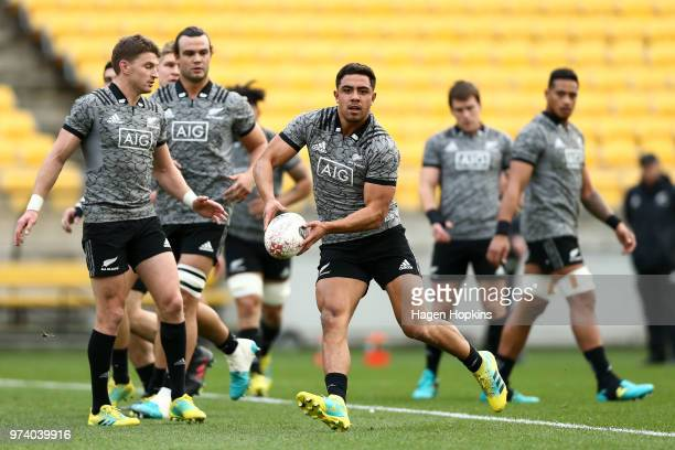 Anton LienertBrown in action during a New Zealand All Blacks training session at Westpac Stadium on June 14 2018 in Wellington New Zealand