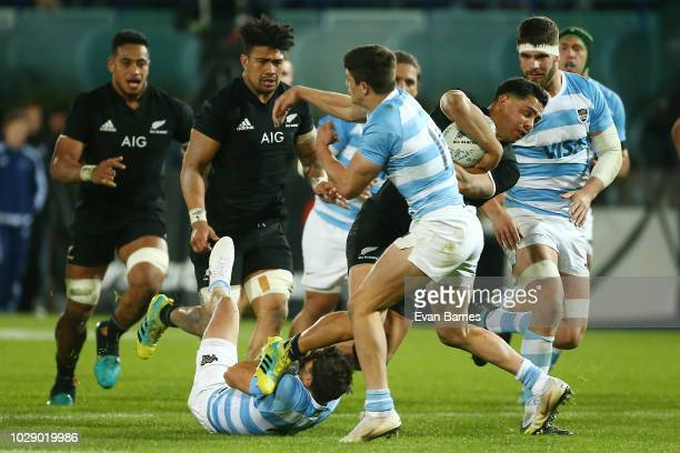 Anton LienertBrown is tackled during The Rugby Championship between the New Zealand All Blacks and Argentina at Trafalgar Park on September 8 2018 in...