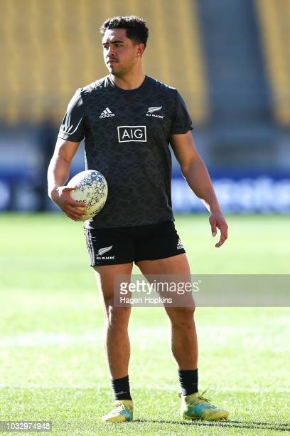 Anton LienertBrown looks on during a New Zealand All Blacks Captain's Run at Westpac Stadium on September 14 2018 in Wellington New Zealand