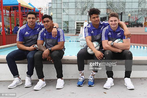 Anton LienertBrown Malakai Fekitoa Ardie Savea and Beauden Barrett sit on Navy Pier on October 29 2016 in Chicago Illinois The All Blacks will play...