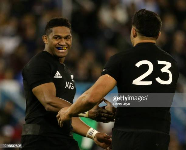 Anton LienertBrown of New Zealand celebrate after scoring with teammate Waisake Naholo during a match between Argentina and New Zealand as part of...
