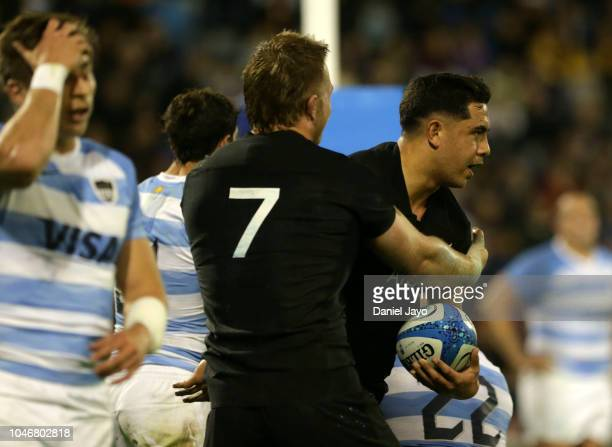 Anton LienertBrown of New Zealand celebrates after scoring a try with teammate Sam Cane during a match between Argentina and New Zealand as part of...