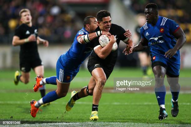 Anton LienertBrown of New Zealand is tackled by Gael Fickou of France during the International Test match between the New Zealand All Blacks and...