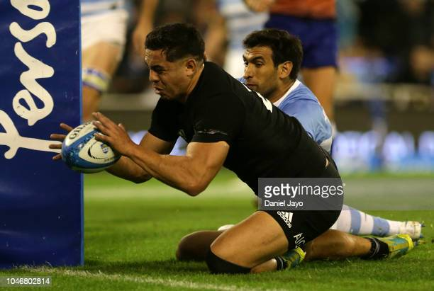 Anton LienertBrown of New Zealand scores a try during a match between Argentina and New Zealand as part of The Rugby Championship 2018 at Jose...