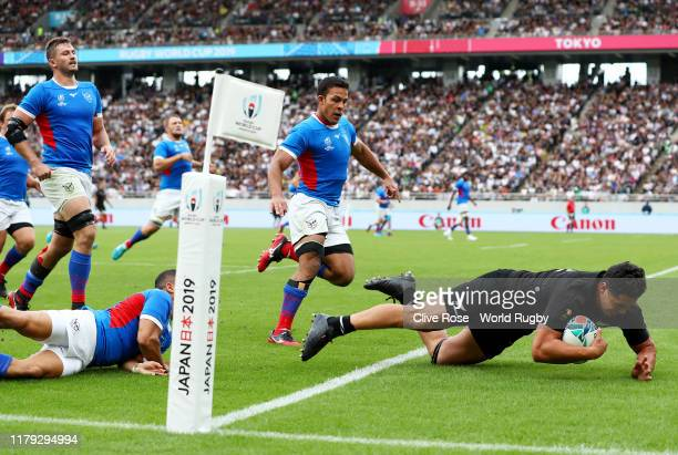 Anton LienertBrown of New Zealand scores his side's sixth try during the Rugby World Cup 2019 Group B game between New Zealand and Namibia at Tokyo...