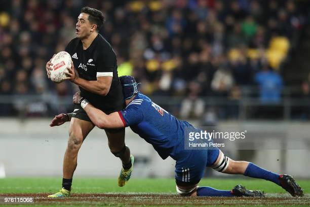 Anton LienertBrown of the All Blacks charges forward during the International Test match between the New Zealand All Blacks and France at Westpac...