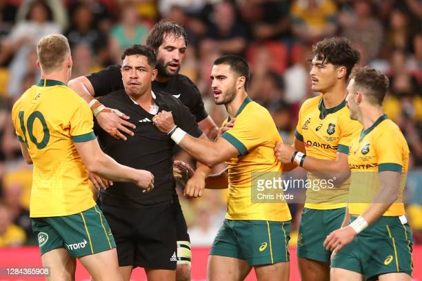 Anton Lienert-Brown of the All Blacks fights with Reece Hodge of the Wallabies during the 2020 Tri-Nations match between the Australian Wallabies and...