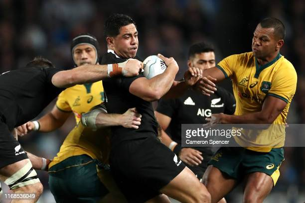 Anton Lienert-Brown of the All Blacks is tackled during The Rugby Championship and Bledisloe Cup Test match between the New Zealand All Blacks and...