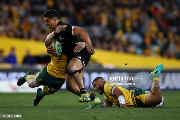 Anton LienertBrown of the All Blacks is tackled during The Rugby Championship Bledisloe Cup match between the Australian Wallabies and the New...