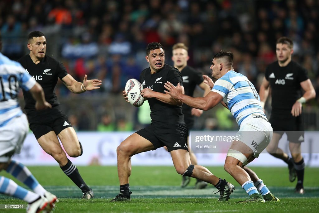 Anton Lienert-Brown of the All Blacks is tackled during The Rugby Championship match between the New Zealand All Blacks and Argentina at Yarrow Stadium on September 9, 2017 in New Plymouth, New Zealand.