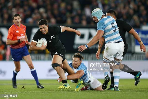 Anton LienertBrown of the All Blacks makes a break during The Rugby Championship match between the New Zealand All Blacks and Argentina at Trafalgar...