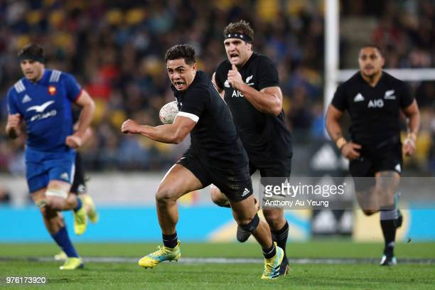 Anton LienertBrown of the All Blacks makes a break during the International Test match between the New Zealand All Blacks and France at Westpac...