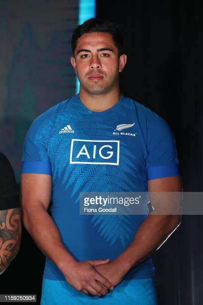 Anton LienertBrown of the All Blacks models the new training jersey at the New Zealand All Blacks Rugby World Cup 2019 jersey launch at the Adidas...