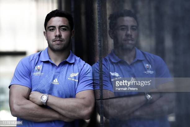 Anton LienertBrown of the All Blacks poses for a portrait following a New Zealand All Blacks Rugby World Cup press conference on September 17 2019 in...