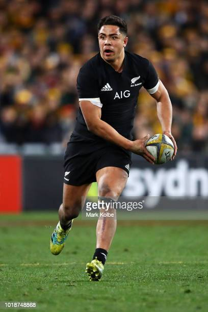 Anton LienertBrown of the All Blacks runs the ball during The Rugby Championship Bledisloe Cup match between the Australian Wallabies and the New...