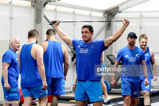 Anton LienertBrown of the All Blacks stretches during a New Zealand All Blacks Rugby World Cup Gym Session at Tatsuminomori Seaside Park on September...
