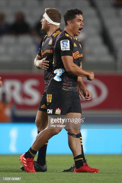 Anton LienertBrown of the Chiefs celebrates during the round one Super Rugby match between the Blues and the Chiefs at Eden Park on January 31 2020...