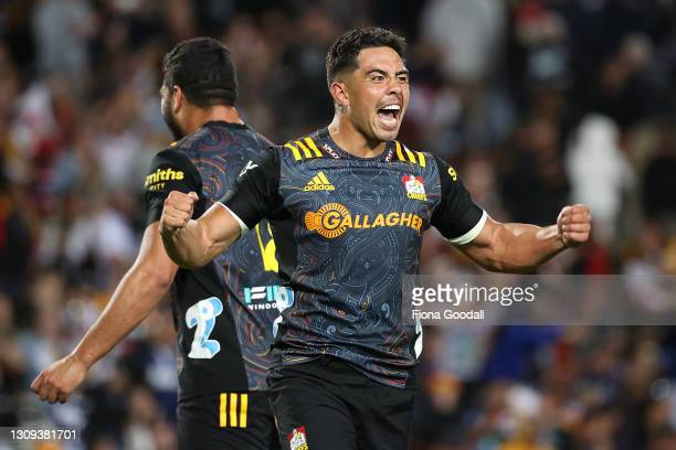 Anton Lienert-Brown of the Chiefs celebrates the last minute win during the round 5 Super Rugby Aotearoa match between the Chiefs and the Blues at...