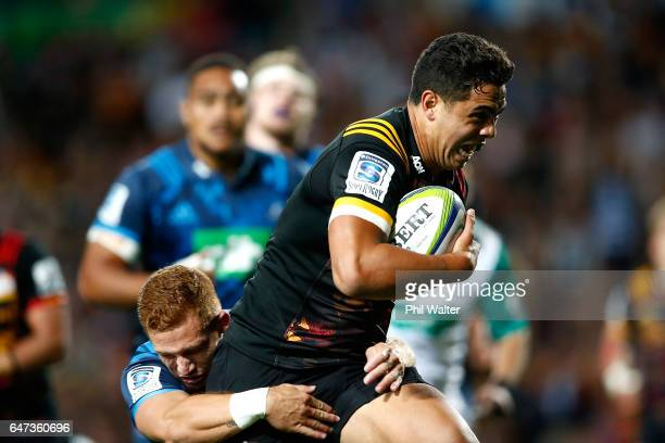 Anton LienertBrown of the Chiefs goes over to score a try during the round two Super Rugby match between the Chiefs and the Blues at Rugby Park on...