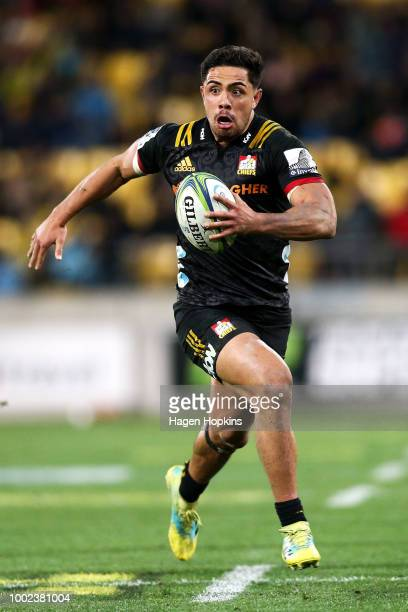 Anton LienertBrown of the Chiefs in action during the Super Rugby Qualifying Final match between the Hurricanes and the Chiefs at Westpac Stadium on...