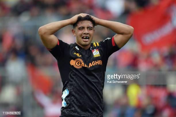 Anton LienertBrown of the Chiefs reacts during the round four Super Rugby match between the Crusaders and Chiefs at Christchurch Stadium on March 09...