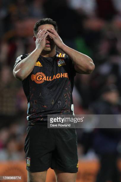 Anton Lienert-Brown of the Chiefs reacts to a last minute loss in the round 6 Super Rugby Aotearoa match between the Chiefs and the Highlanders at...